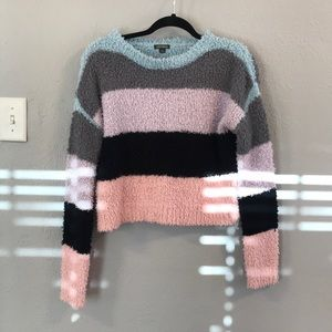 Sweaters - Color-Block Fuzzy Sweater
